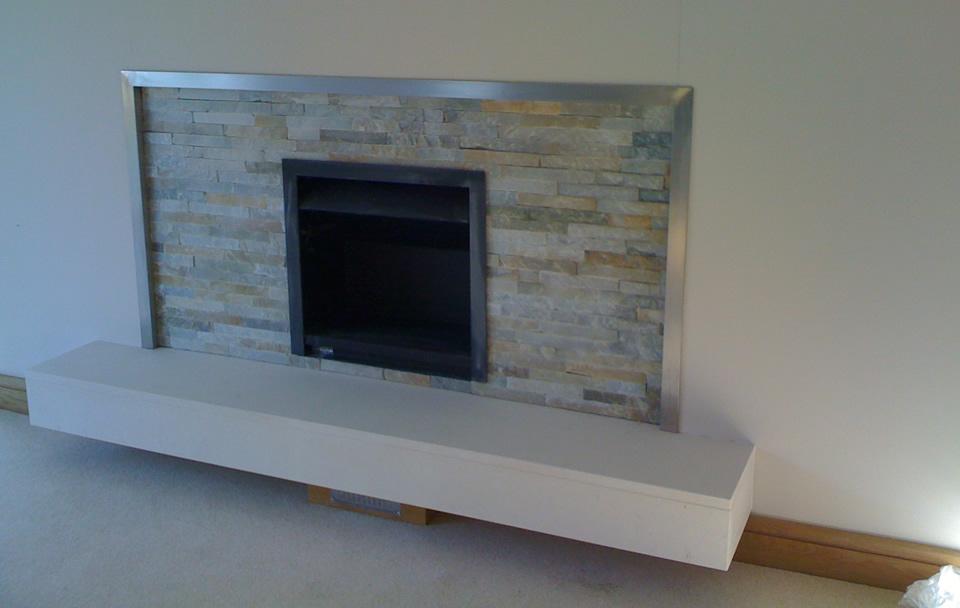 Split Face Slate Mosiac Tiled Fireplace. Chameleon S Natural Stone  Installation Electric